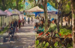 "Bruce Baxter ""Market Day - Dog Walk"" 12x16 oil $800."