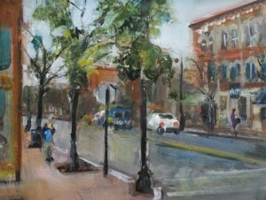 "Bruce Baxter ""Market Street Conference"" 11x14 oil $600."