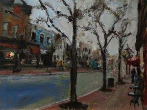 "Bruce Baxter ""West Market Street"" 11x14 oil $600."