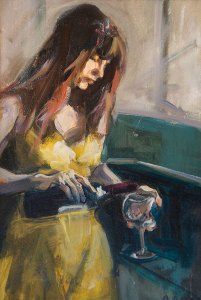 "Bruce Baxter ""Wine O'Clock"" 16x12 oil $800."