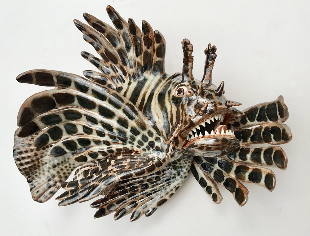"Alan and Rosemary Bennett ""Lion Fish"" (View A) 10x12 clay $450."