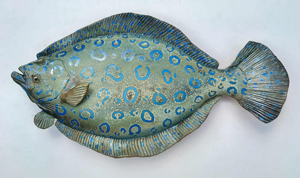 "Alan and Rosemary Bennett ""Peacock Flounder"" 14x24 clay $450."
