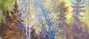 "Anne L. Bialke ""Spring Wood"" 16x36 oil $1,100."