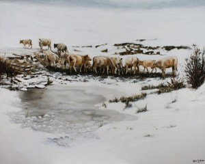 "Bibi S. Brion ""Cows in the Snow"" 24x30 oil $3,800."