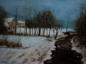 "Bibi S. Brion ""Nocturne in Nauvoo"" 12x16 oil $1,500."