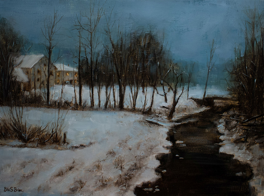 """Bibi S. Brion """"Nocturne in Nauvoo"""" 12x16 oil $1,500."""
