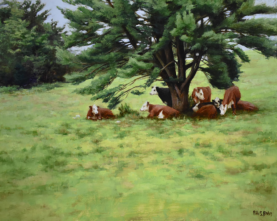 "Bibi S. Brion ""The Cattle and the Pine"" 16x20 oil $1,975."