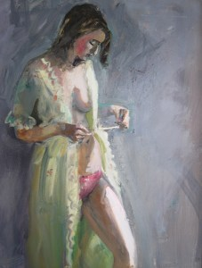 "Bruce Baxter ""Pretty Robe"" 20x16 oil $1,000."