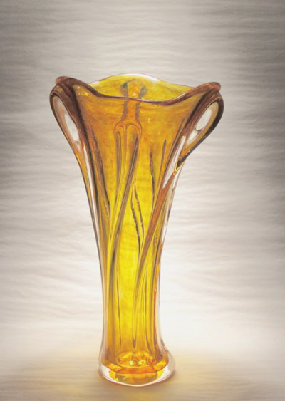 "David Buck ""Brilliant Gold Organic Vase"" 11"" tall soda/lime glass $100. Inquire on available colors"