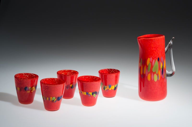 "David Buck ""Red 6 Tumblers and Pitcher"" blown glass $235. set Inquire on pitcher"