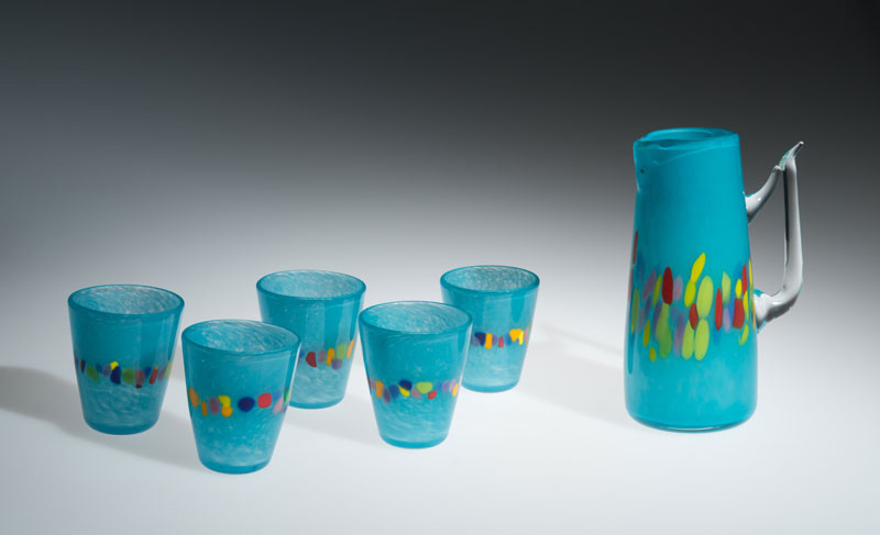 "David Buck ""Sea Blue 6 Tumblers and Pitcher"" blown glass $235. set Inquire on pitcher shape"