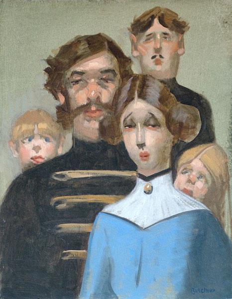"""Thomas S. Buechner """"Austrian Cousins"""" 14x11 oil $2,450. framed"""
