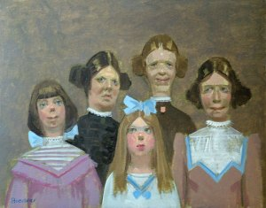 "Thomas S. Buechner (Caricature) ""Grandmother with Sisters"" oil painting"