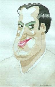 "Thomas S. Buechner ""Lust"" 6x4 watercolor $950"