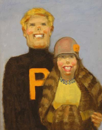 """Thomas S. Buechner """"Princeton Couple - 1920s"""" 14x11 oil $2,500"""