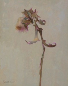 """Thomas S. Buechner """"Dried Thistle"""" 10x8 unframed oil $1,870."""