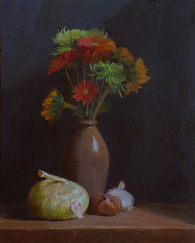 "Thomas S. Buechner ""Flowers and Onions"" 20x16 oil $3,390."