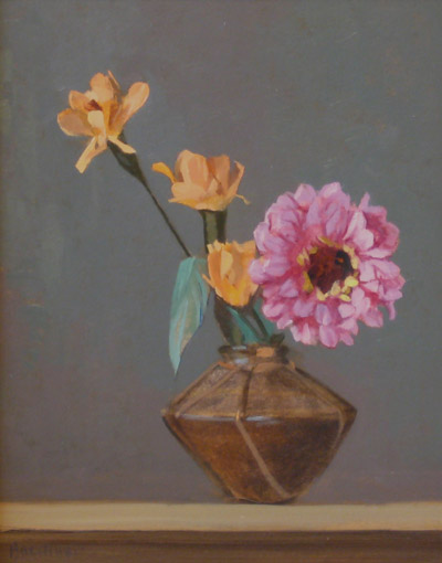 "Thomas S. Buechner ""Mexican Flowers"" 14x11 unframed oil $2,420."