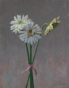 "Thomas S. Buechner ""Three Gerber Daisies"" 14x11 oil $2570."