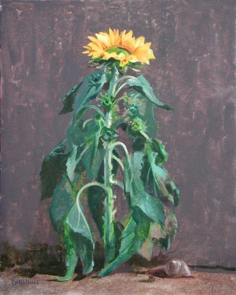 """Thomas S. Buechner """"Tired Sunflower"""" 20x16 oil $3,390. framed"""