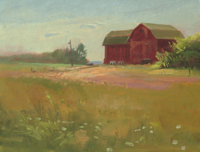 "Thomas S. Buechner ""Afternoon Barn"" 8x10 oil $1,970."