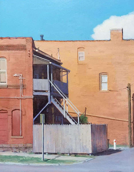 "Thomas Buechner ""Chestnut Street"" 14x11 oil $2,570."