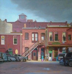 "Thomas S. Buechner ""Boy in Doorway II"" 16x 20 oil framed $3,300."