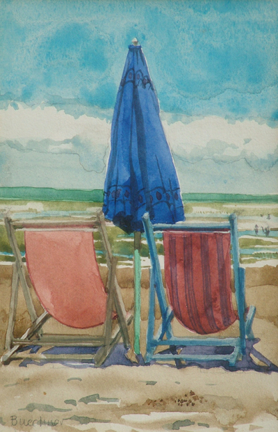 "Thomas S. Buechner ""Beach Chairs"" 7x5 watercolor $1,040."