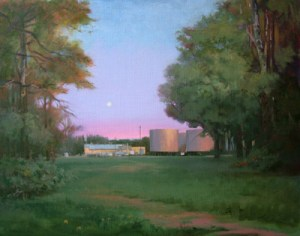 """Thomas S. Buechner """"Factory in the Woods/Big Flats Tanks"""" 24x30 unframed oil $5,720."""
