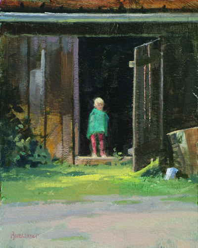 "Thomas S. Buechner ""Boy in Doorway"" 10x8 oil $1,900."