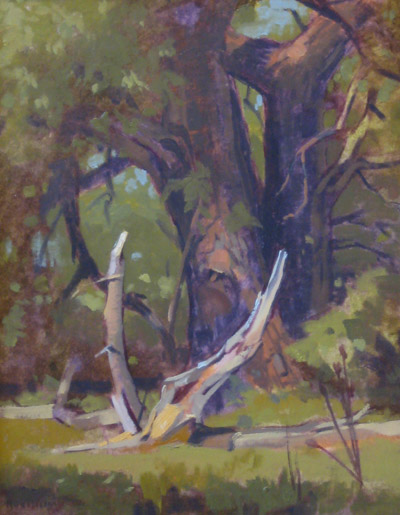 "Thomas S. Buechner ""Claw Tree"" 14x11 unframed oil $2420."