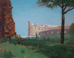 """Thomas S. Buechner """"Colosseum from the Forum"""" 11x14 oil $2,570."""
