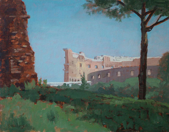 "Thomas S. Buechner ""Colosseum from the Forum"" 11x14 oil $2,570."