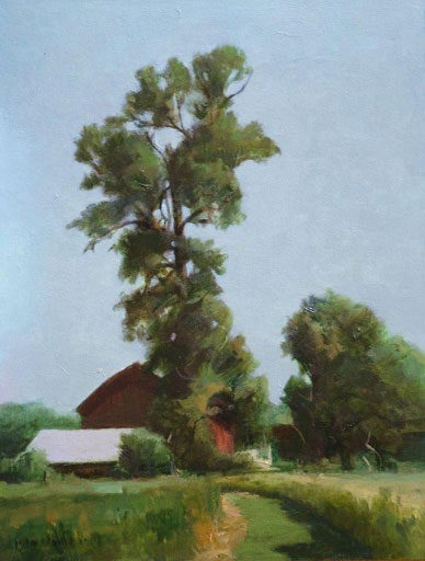 "Thomas S. Buechner ""Farm by Turks"" 14x11 oil framed $2,500."