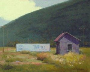 """Thomas S. Buechner """"Jennifer's Club"""" framed 16x20 oil $3,300."""