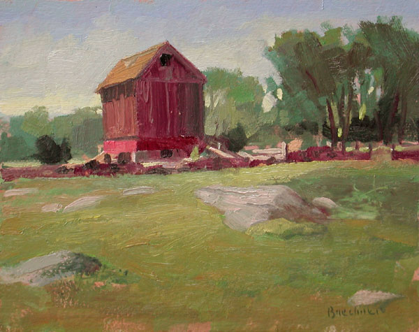 "Thomas S. Buechner ""Lone Barn, Old Lyme"" 8x10 unframed oil $1,870."