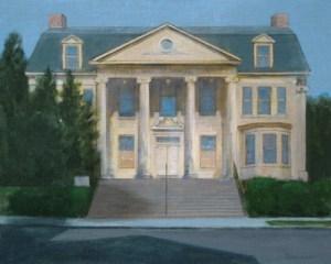"""Thomas S. Buechner """"Memorial Library"""" 16x20 oil framed $3,390."""