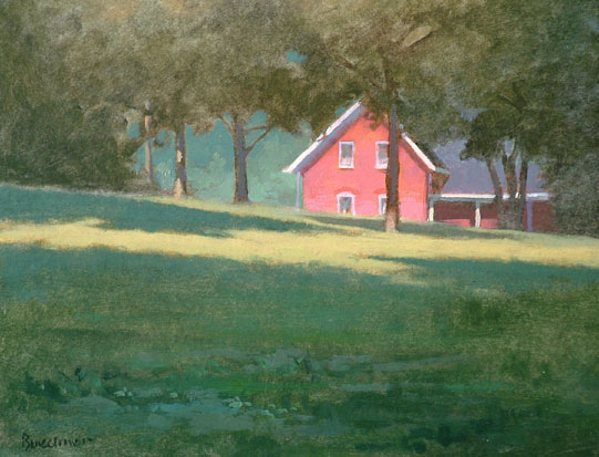 "Thomas S. Buechner ""Red House on Walnut Street"" 11x14 oil $2,570."