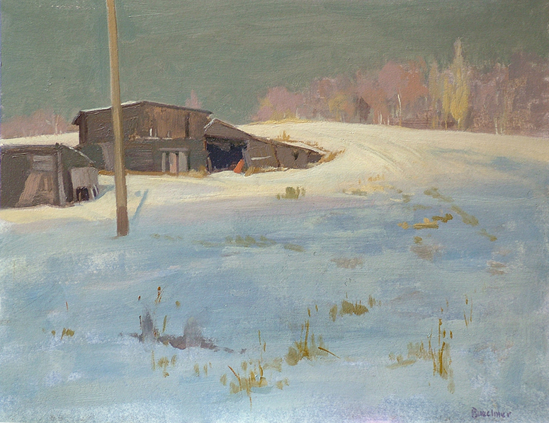 "Thomas S. Buechner ""Sheds in Snow"" 11x14 oil $2,570."