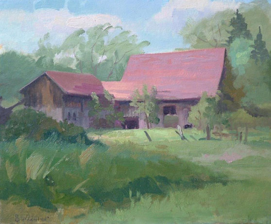 "Thomas Buechner ""Stirpe's Barn"" 11x14 oil $2,500."