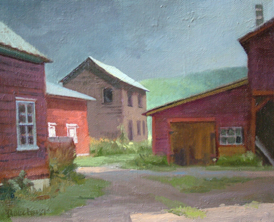 "Thomas Buechner ""Storm Over Welles' Farm"" 8x10 oil $1,930."