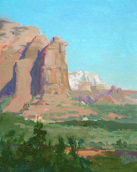 "Thomas S. Buechner ""Teapot Rock Study"" 10x8 oil $1,970."