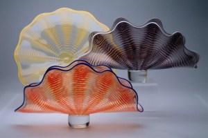 "Matthew Buechner ""Fan Bowls"" Approx 16"" each blown glass $450."