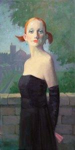 "Thomas S. Buechner ""Amelia in Black"" 24x12 oil $3,390."