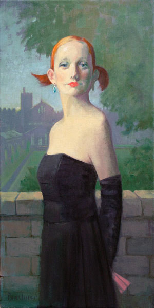 "Thomas S. Buechner ""Amelia in Black"" 24x12 oil $3,390."