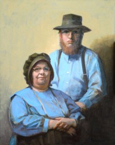 "Thomas S. Buechner ""Amish Couple"" 20x16 oil $3,390."