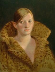 "Thomas S. Buechner ""Julie in Leopard Skin Coat"" 20x16 oil $3,390."