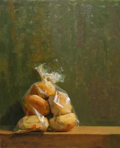 "Thomas S. Buechner ""Bag of Bagels"" 20x16 oil $3390."