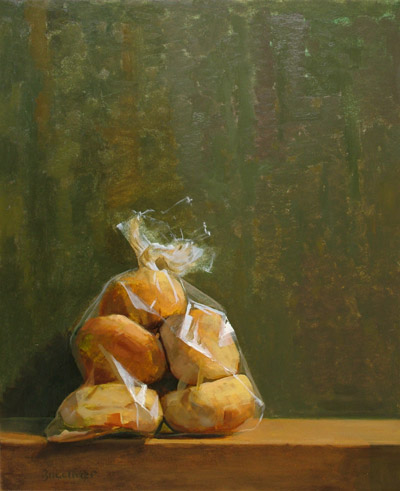 "Thomas S. Buechner ""Bag of Bagels"" 20x16 oil $3390."