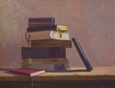 "Thomas Buechner ""Books"" 16x20 oil $3,240"
